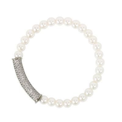 Bracciale elastico di perle con zirconi Pearl