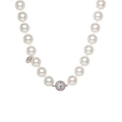 Girocollo di perle bianche e sfera di zirconi Pearl