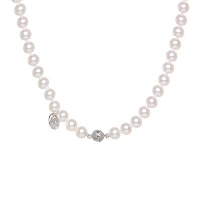 Girocollo di perle bianche e charm con zirconi Pearl