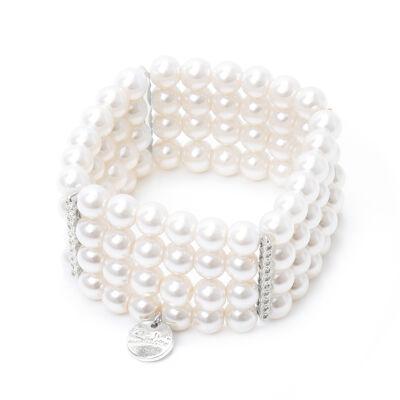Bracciale elastico con quattro fili di perle Pearl