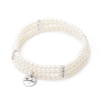 Bracciale elastico con tre fili di piccole perle Pearl