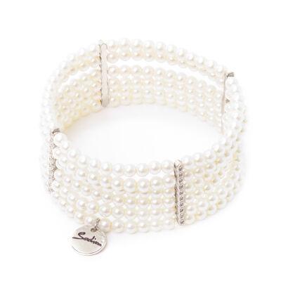 Bracciale elastico con sei fili di piccole perle Pearl