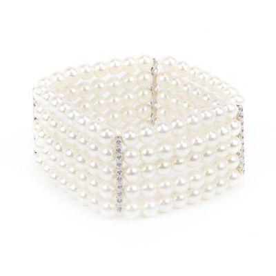 Bracciale elastico con cinque fili di perle e zirconi Pearl