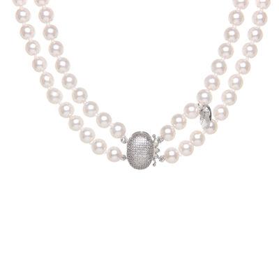 Girocollo a due fili di perle e cupolina di brillanti Pearl