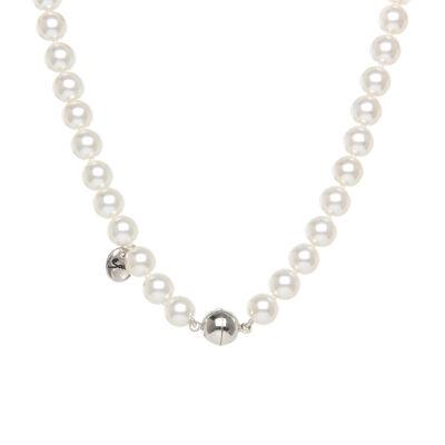 Collana di perle e sfera metallica Pearl
