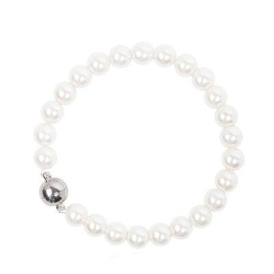 Bracciale di perle e sfera metallica Pearl