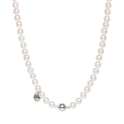 Girocollo di perle e sfera splendente Pearl