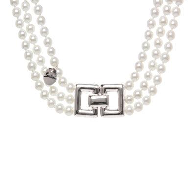 Collana a tre fili di perle e doppio rettangolo Pearl