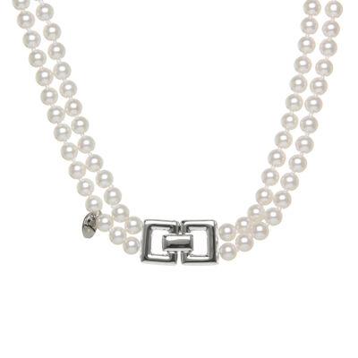 Collana a due fili di perle e doppio rettangolo Pearl