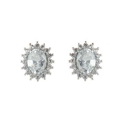 Orecchini con ovale di zirconi Pearl