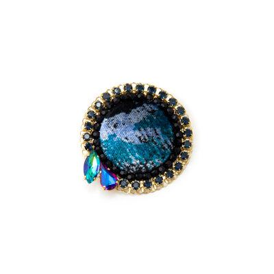 Spilla bottone e cristalli Boheme