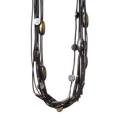 Collana multifilo con elementi tubolari Masai