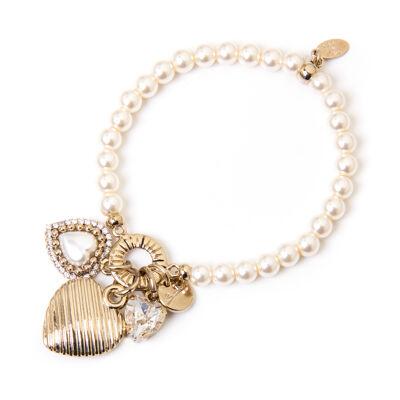 Bracciale elastico perle e cuori La bella