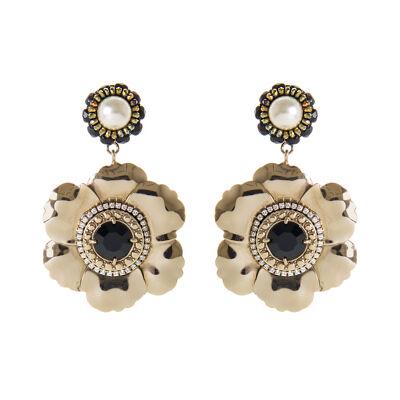 Orecchini fiori, perle e cristalli Frida