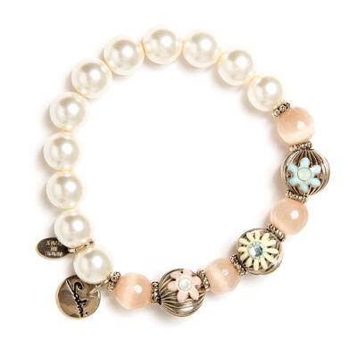 Bracciale elastico perle e sfere Flora