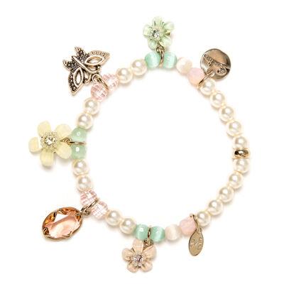 Bracciale elastico con perle e charm Flora