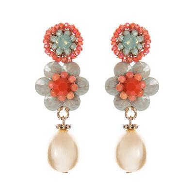 Orecchini fiorellini e perla Zenzero