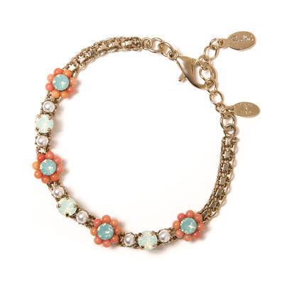 Bracciale fiorellini e perle Zenzero