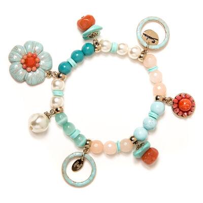 Bracciale elastico perle e boule Zenzero