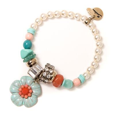 Bracciale elastico perle e fiore Zenzero