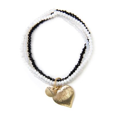 Bracciale elastico con perline e cuore Ustica