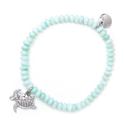 Bracciale elastico con perline a pasticca e tartaruga Salina