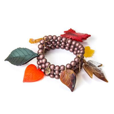 Bracciale elastico a tre fili con foglie Evelyn