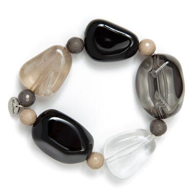 Bracciale elastico con elementi asimmetrici e perline Aura