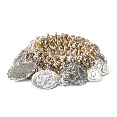 Bracciale elastico con boules e monetine Money