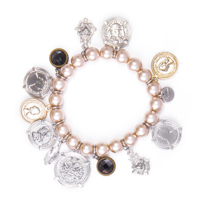 Bracciale elastico con perle Money