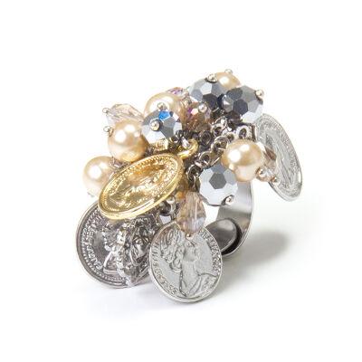 Anello con monetine e perle Money