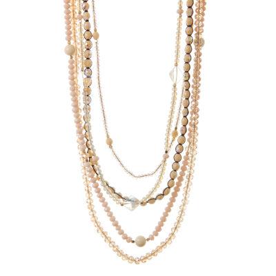 Lunga collana multifilo con limonite e perline Ischia
