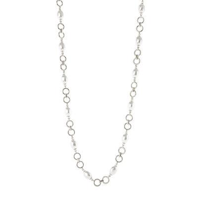 Collana lunga anellini e perle Afrodite