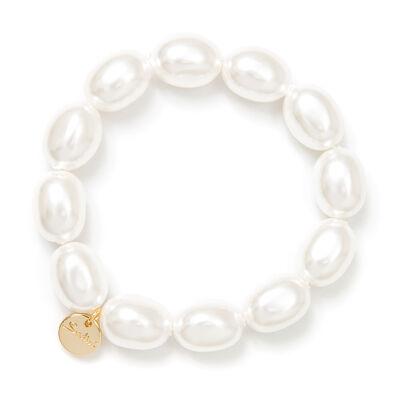 Bracciale elastico di perle ovali Afrodite