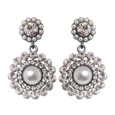Orecchini a pendente con cristalli e perle Vintage