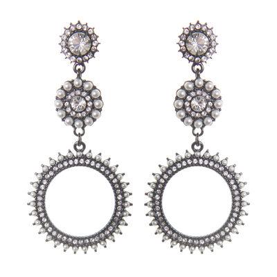 Orecchini pendenti con fiore e rosetta di perle Vintage