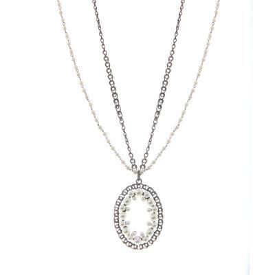 Collana lunga con rosetta di perle Vintage