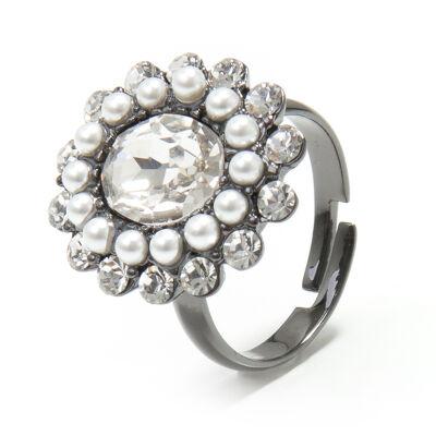 Anello con perle e cristalli Vintage