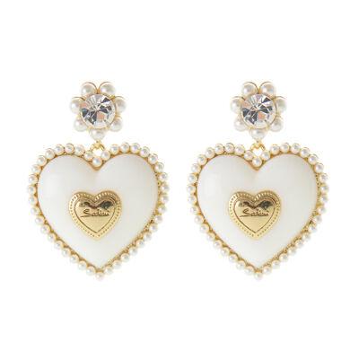 Orecchini con grande cuore e perle Favignana