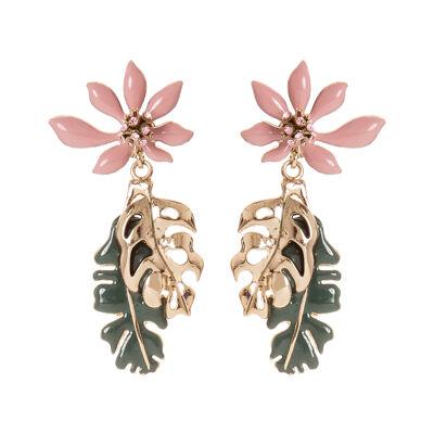 Orecchini fiore e foglie Clorofilla