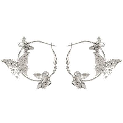 Piccoli orecchini a cerchio e farfalline Cielo