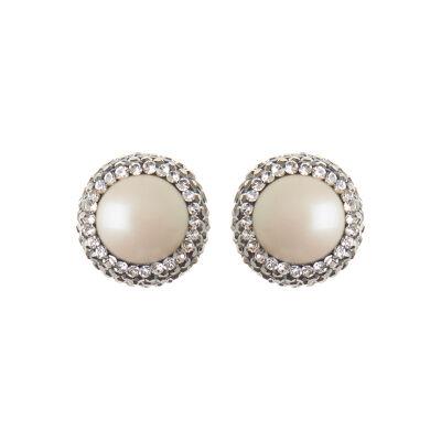 Orecchini con perla e rosette di cristalli Festival