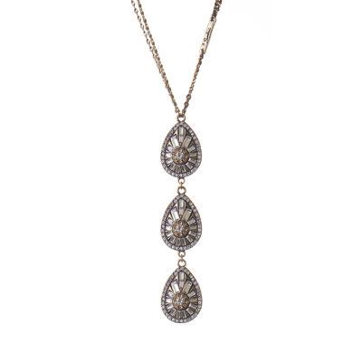 Collana doppio filo con gocce di cristalli Chandelier