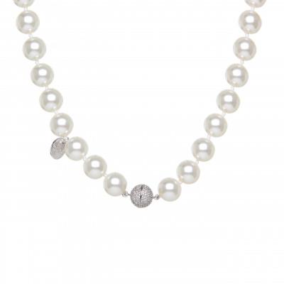 Girocollo di perle con sfera di zirconi Pearl