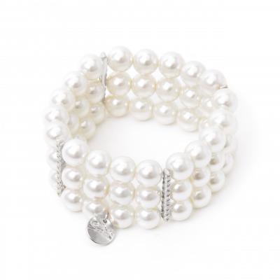 Bracciale elastico con tre fili di perle Pearl