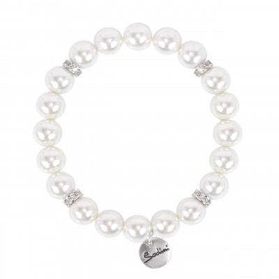Bracciale elastico con perle e zirconi Pearl