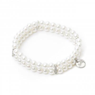 Bracciale elastico con due fili di perle e zirconi Pearl