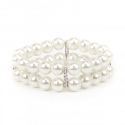 Bracciale elastico con due fili di grandi perle Pearl