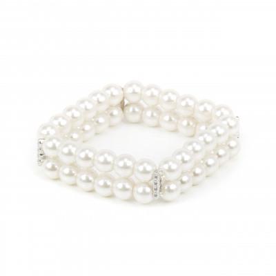 Bracciale elastico con due fili di perle e brillanti Pearl