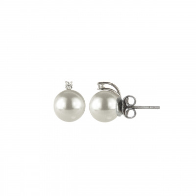 Orecchini con perla e piccolo zircone Pearl